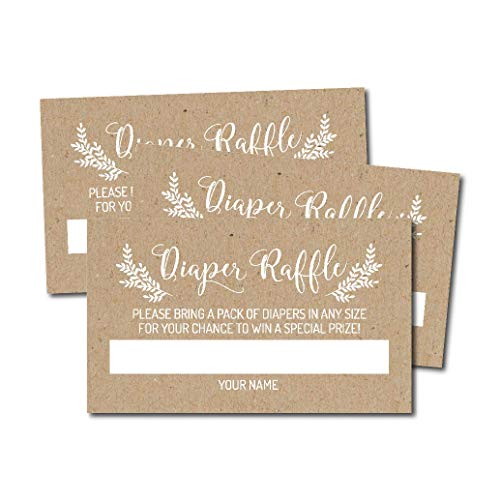 25 Rustic Diaper Raffle Ticket Lottery Insert Cards for Girl or Boy Baby Shower Invitations, Kraft and White Supplies and Games for Neutral Gender Reveal Party, Bring a Pack of Diapers to Win Favors,
