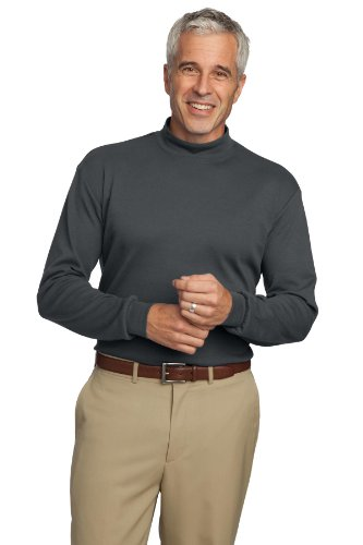 Port Authority Interlock Knit Mock Turtleneck. K321 Steel Grey - Interlock Turtleneck Authority Knit Port