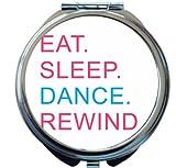 Rikki Knight Eat Sleep Dance Rewind Pink & Blue Design Round Compact Mirror