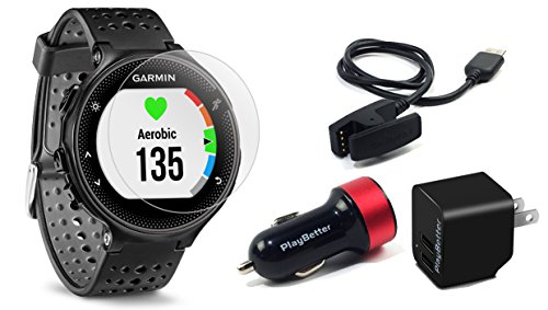 Garmin Forerunner 235 (Black/Gray) with Screen Protectors & Charging Adapters BUNDLE | Includes On-Wrist HR Running GPS Watch, Tempered Glass HD Screen Protectors & PlayBetter USB Car/Wall Adapters