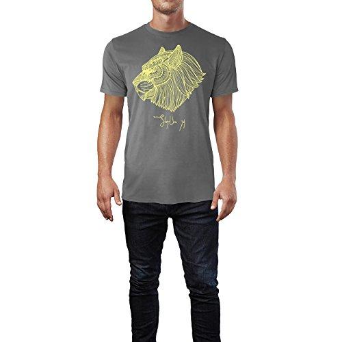 SINUS ART ® Kopf eines Löwen im Ethno Stil Herren T-Shirts in Grau Charocoal Fun Shirt mit tollen Aufdruck