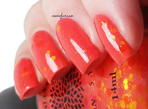 Dandelion Explosion | Coral Orange Jelly Nail Polish with Matte Hot Pink, Yellow & Orange Glitter | by Black Dahlia Lacquer by Black Dahlia Lacquer LLC