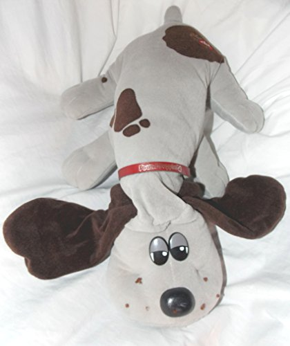 "Vintage Pound Puppies 17"" Plush Gray Pound Puppy Dog With Dark Brown Spots and Long Dark Brown Ears"