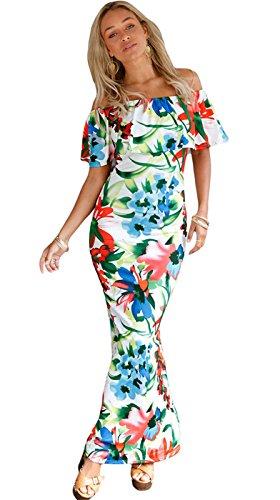 Moda Manga Corta Bajo de Volante Volantes Off The Shoulder Escote Cuello Bardot Estampado Long Maxi Larga Largo Bodycon de Tubo Ajustado Lápiz Columna Vestido Verde claro Floral