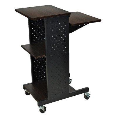 LUXOR PS4000-W Adjustable Computer Presentation/Workstation Cart with Storage Shelf, 2 Locking Brakes and 4 Casters, Walnut