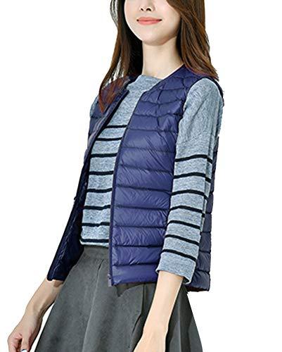 Navy Packable Winter Lightweight Coat Vest GladiolusA Warm Collarless Women Sleeveless Jacket tIwvp