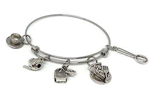 Tea Time Charm Bracelet - Teapots, Teacup, Tea Bag, Spoon & Piece of Cake - Tea Lovers Jewelry