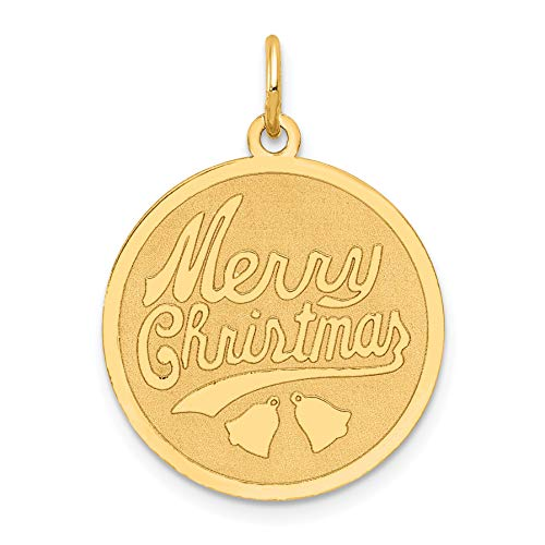 Mireval 14k Yellow Gold Merry Christmas Disc Charm (19 x 25 mm)