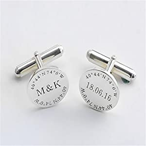 Amazon.com: LAOFU Groom Wedding Cufflinks, Custom Engraved Cufflinks ...