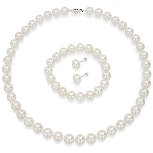 La Regis Jewelry Sterling Silver 10 10.5mm White Freshwater Cultured Pearl Necklace, Stretch Bracelet & Stud Earrings