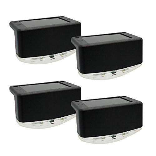 Davinci Solar Outdoor Lights – Lighting for Deck Post Fence Steps or Dock - Bright Warm White LED, Waterproof, Wireless, Slate Black (4 Pack) (Lights Deck Solar Accent)