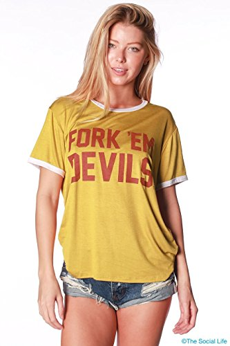 - Official NCAA Arizona State University Sun Devils ASU FORK EM! Go Go Sparky Relaxed Ringer Tee Shirt