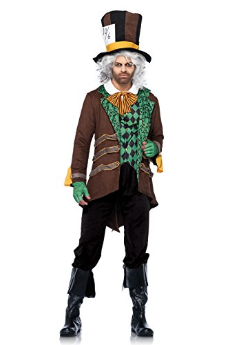 [Leg Avenue Men's 5 Piece Classic Mad Hatter Costume, Brown, X-Large] (Female Mad Hatter)