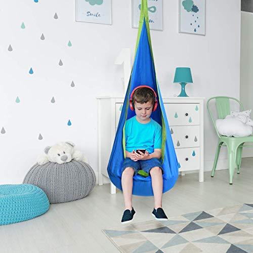 Costzon Kids Pod Swing Chair Tent Nook Indoor Outdoor Hanging Seat Hammock(Blue)