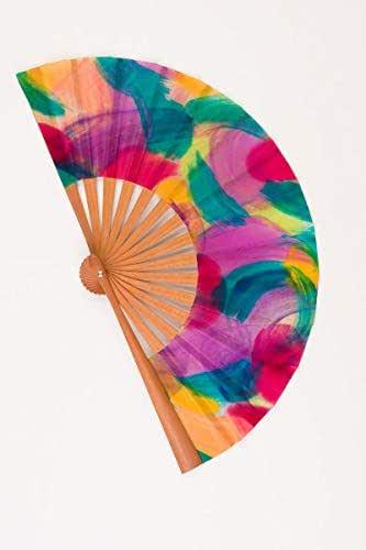 Abanico pequeño de Seda Natural pintado a mano de muy alta calidad. Madera de Moabi y tela Crepé de Seda. Idóneo para llevar en el bolso. Diseño exclusivo, elegante y moderno. Pieza