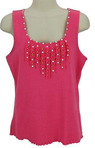ze Small Pink Ribbed Tank with Ribbon Buttons & Beads (Ruby Ribbed Tank Top)