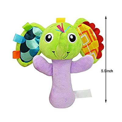 Gbell Baby Animal Rattles Handbells Toy - Soft Plush Dolls Toys Educational Developmental Sensory Toys for Newborn Infants Babies Boy Girls,1Pcs 5.9 inch (D): Sports & Outdoors