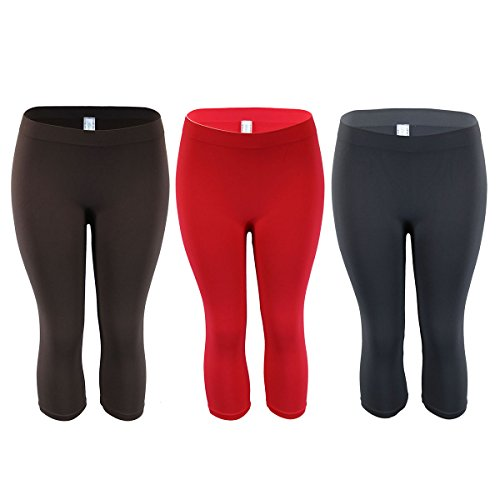 GreeNice Seamless Stretchy Capri Leggings for Women 2 Size Pack of 1/3 (One Size, brown+red+gray)