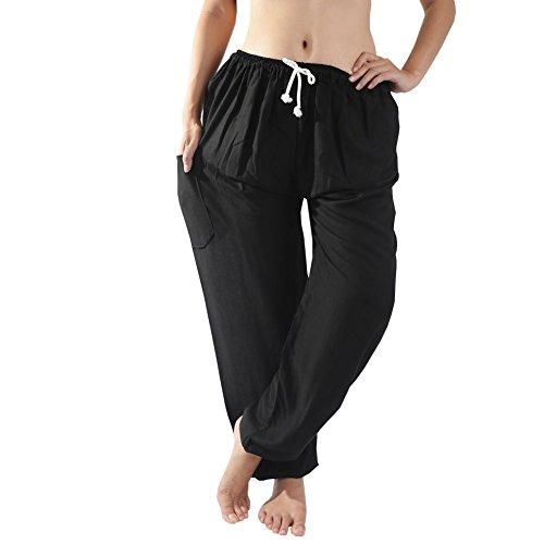 Rita & Risa Women's Pajama PJ Pants Bottoms/Lounge (Medium, Black) (Halloween Denver Co)