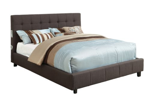 Furniture of America Reyes Fabric Platform Bed with Bluetooth Speaker Headboard Design, Queen, Gray