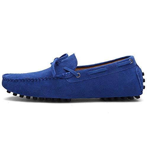 Damen Klassische Slip-on Wildleder Loafers Fahren Halbschuhe Mokassin Lederschuhe Bootsschuhe Blau