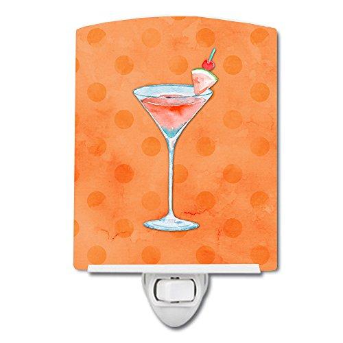 Caroline's Treasures Summer Martini Orange Polkadot Ceramic Night Light, 6 x 4