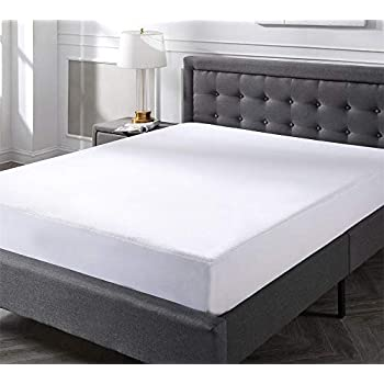 JA COMFORTS Waterproof Bed Mattress Protector-Queen Size(60IN×80IN), Terry Cotton Cover, Deep 5-Sided Pocket, Hypoallergenic, White.