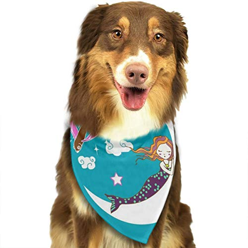 (OURFASHION Mermaid Lullaby Bandana Triangle Bibs Scarfs Accessories for Pet Cats and Puppies)
