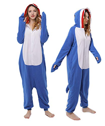Animal Cosplay Costume Unisex Blue Sharky Shark Onesies Costumes ()