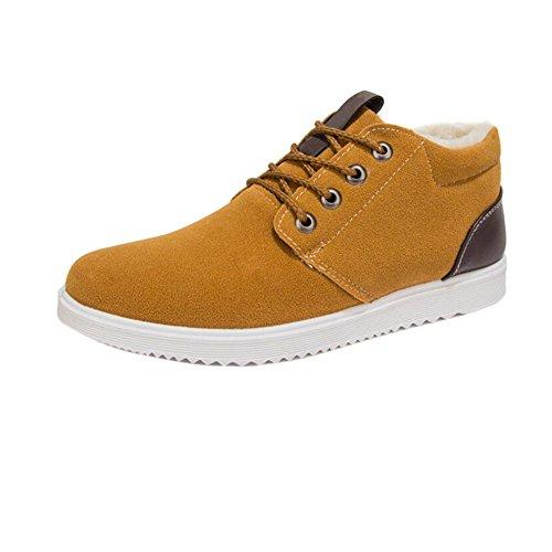 Sneaker Inverno Fodera Traspiranti Caldo Moda Pelliccia Piatti Uomo Casual Up Sportive in Scarpe Lace giallo Outdoor Stivali Fuyingda 15qvUxSY