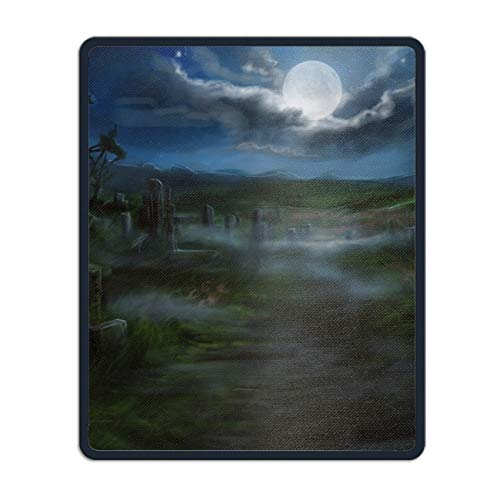 Mouse Pad Funny Mousepad Holiday Halloween Spooky Cemetery Fog Cloud Gravestone Country Creative Designed Gaming Mouse Pad for Office/Home 8.66 x 7.08 inch ()