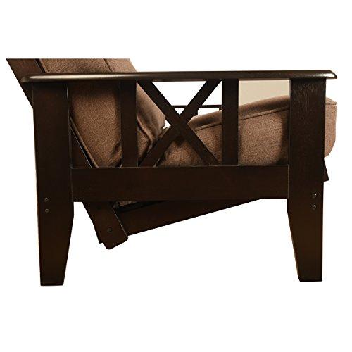 Queen Size Montreal X Espresso Futon Frame w/ 8 Inch Innerspring Mattress Sofa Bed Modern Futons (Peat Mattress w/Frame)