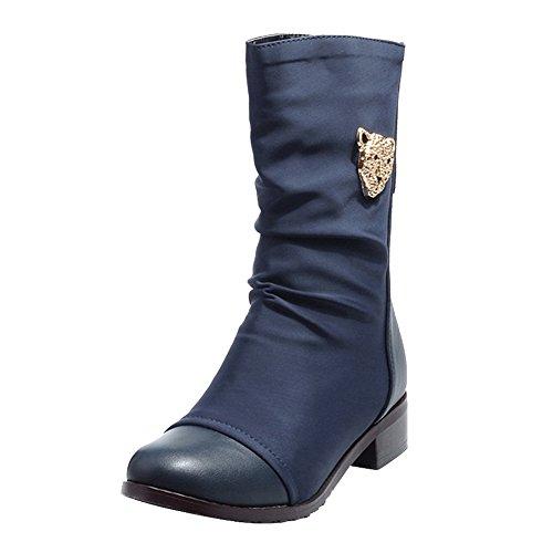 Charm Foot Womens Vintage Tacco Basso A Metà Polpaccio Blu