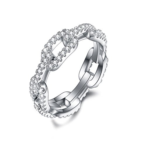 SPILOVE CZ Women Eternity Band 18k White Gold Plated Wedding Engagement Ring Fashion Jewelry Mothers Day Gifts, Size 8