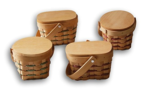 - Mini Country Basket with Wooden Lid - Set of 4