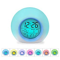 Alarm Clock for Kids Bedroom, Digital LED Clock with 7 Color Switch and 6 Natural Sound – Clear Backlit Screen & Touch Control - With Snooze Function for Heavy Sleepers