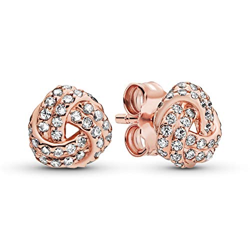 Pandora Jewelry - Shimmering Knot Stud Earrings in Pandora Rose with Clear Cubic Zirconia
