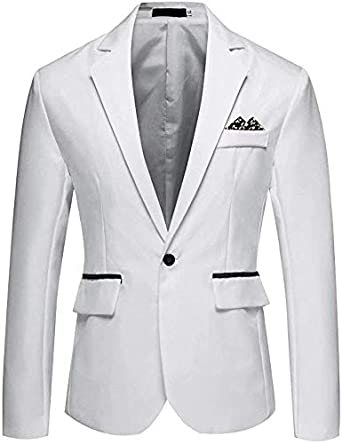 Leader of the Beauty Notch Lapel Prom Coat Solid Color Slim Fit One Button Casual Suit Blazer Jacket for Men