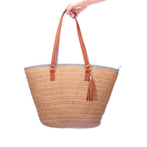 ABage Beach Bag Large Woven Straw Bag Handmade Shopper Tote Zipper Top Handle Shoulder Bag, Brown ()