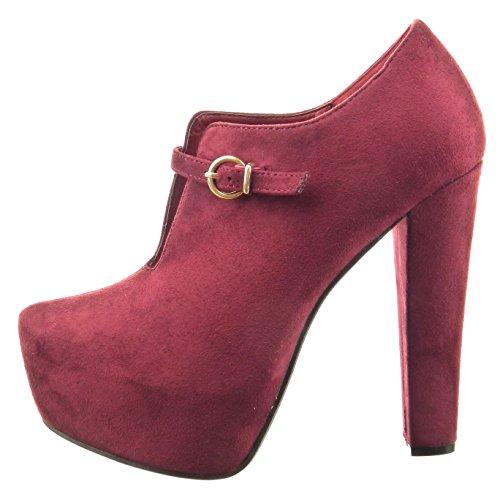 Sopily - Scarpe da Moda Stivaletti - Scarponcini zeppe aperto alla caviglia donna fibbia Tacco a blocco tacco alto 13 CM - Rosso