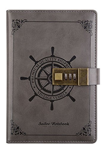 Diary with Lock for Adults, J-Bless, Classic Hardcover Writing Notebook PU Leather Combination Lock Journal 5.5 x 7.9 Inch Retro Vintage (Lock and Diary) 112 Sheets Personal Journal Blue (Gray)