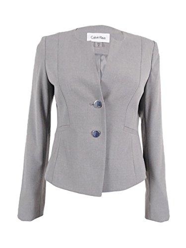 Button Welt Pockets (Calvin Klein Women's Petite 2-Button Welt Pocket Blazer (14P, Tin))