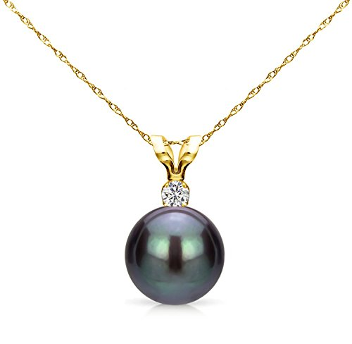 14k Yellow Gold 7-7.5mm Dyed-black Round Freshwater Cultured Pearl Bunny Pendant 1/100cttw Diamond, 18