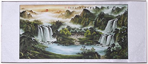 Scroll Wall Art Painting (Large Size Feng Shui Painting Treasure Basin,Hand Mounted Wall Scroll Painting Ready to Hang, Office Living Room Decoration Attract Wealth and Good Luck(67