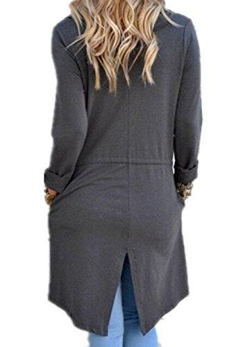 Pullover Tops Aperto Davanti Asimmetrica Autunno Irregolare Giacca Cappotto Nero Landove Cardigan Elegante Maniche Lunghe Outwear Hem Donna Midi Grigio E Orlo 1cJFlTK3