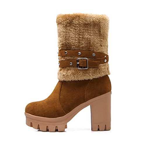 Amoonyfashion Donna Low-top Solido Pull-on Tacco Chiuso Stivali Tacchi Alti Marrone