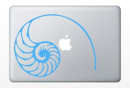 Fibonacci Spiral | Nautilus Shell Laptop Decal | Car Vinyl Sticker (Azure - Cork Vinyl Board