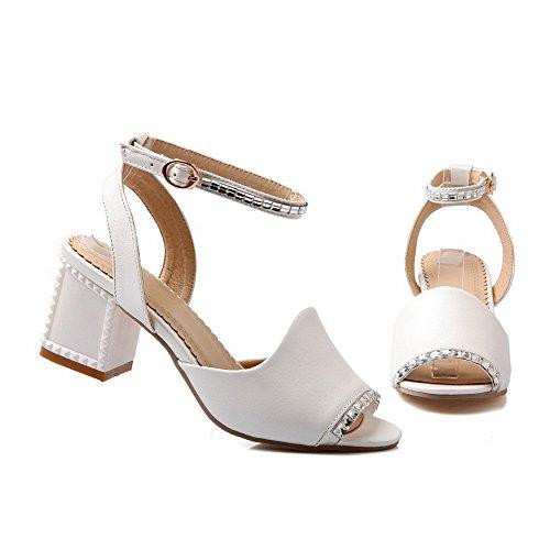 AllhqFashion Womens Soft Material Peep Toe Kitten-Heels Buckle Solid Sandals White j3e52l