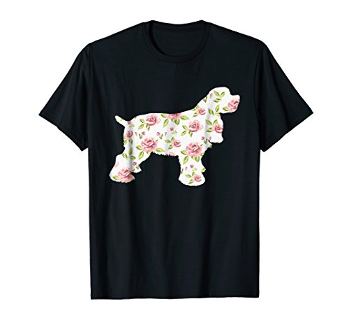 American Cocker Spaniel Dog Roses Floral Silhouette -