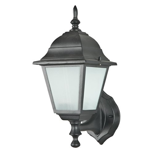 Sunset Lighting F4330-31 Outdoor Wall Lantern with Frosted Glass, Black Finish